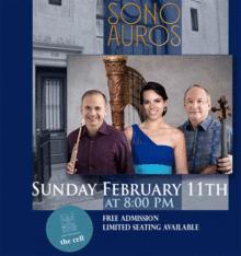 Concerts, February 11, 2018, 02/11/2018, Sono Auros: Trio Recital for Flute, Cello and Harp