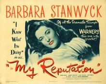 Films, December 16, 2019, 12/16/2019, My Reputation (1946) With Barbara Stanwyck: Widow Falls In Love With Army Major